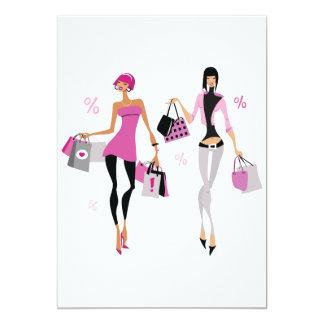 女性の買物をする招待状 カード