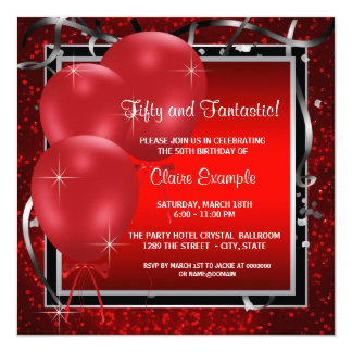 女性の赤く黒いバースデーパーティ招待状 カード