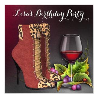 女性の赤ワインの誕生会 カード