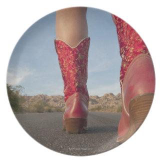 女性の身に着けているカウボーイ・ブーツの低角度の眺め プレート