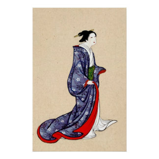 女性の身に着けているローブおよび着物1878年 ポスター