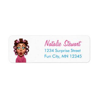 女性の身に着けているCurlersのレトロのユニークなピンク 返信用宛名ラベル