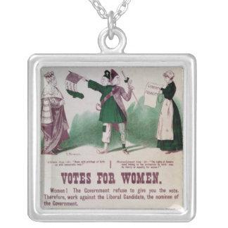 女性の選挙権ポスター シルバープレートネックレス