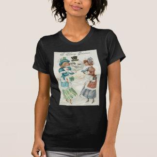 女性の雪だるまのタバコのMonocleのシルクハット Tシャツ