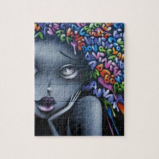女性の顔および手紙カラフルなGrafatti ジグソーパズル