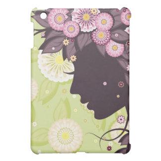 女性の顔のシルエットおよび花とのiPadの場合 iPad Mini カバー