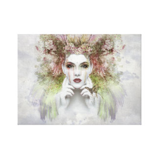 """女性の顔のポートレート12"""" x12""""、1.5""""壁のキャンバスの芸術 キャンバスプリント"""