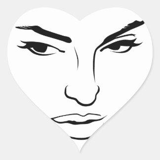 女性の顔 ハートシール