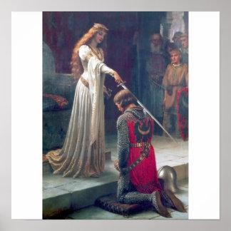 女性の騎士剣の城の旧式な絵画 ポスター