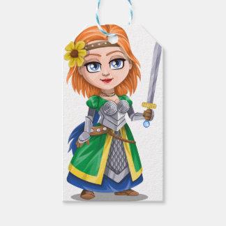 女性の騎士戦士 ギフトタグ