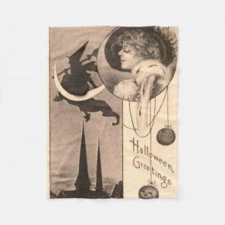 女性の魔法使いの三日月形の月のジャックOのランタン フリースブランケット