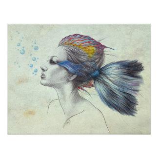 女性の魚の超現実的な芸術粗かった写真のプリント フォトプリント