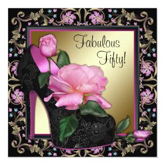 女性の黒いピンクの金ゴールドの第50誕生会 カード