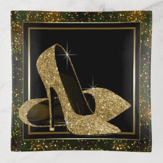女性の黒い金ゴールドのハイヒールの靴の装身具の皿の皿 トリンケットトレー