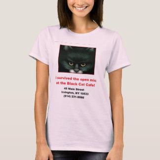 女性の黒猫開いたMic Tシャツ