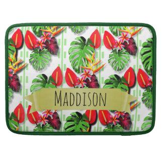 女性の10代のな女の子の名前入りな熱帯葉 MacBook PROスリーブ