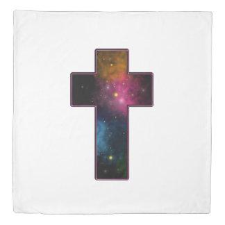 女性の10代のな女の子の粋なキリスト教の十字の銀河系 掛け布団カバー