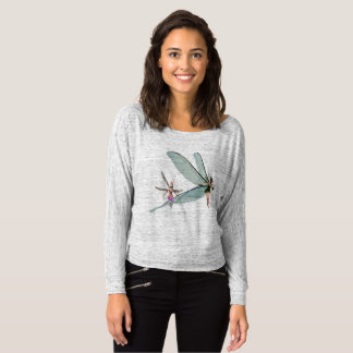 女性のBella+公平な肩のワイシャツを離れたキャンバスFlowy Tシャツ