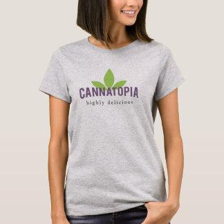 女性のCannatopiaのロゴのティー Tシャツ