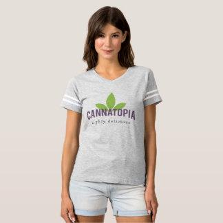 女性のCannatopiaのロゴのフットボールティー Tシャツ