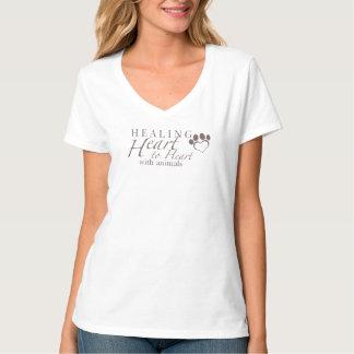 女性のHanesのv首のティー Tシャツ