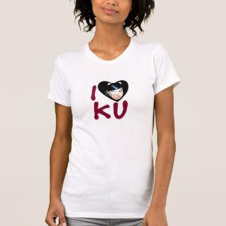 女性のIのハートのKuのタンクトップ Tシャツ
