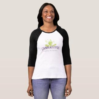 女性のRaglanのCannatopiaの煙のロゴのティー Tシャツ
