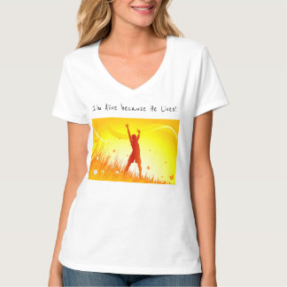 女性のTシャツの得意気に賞賛彼は住んでいます Tシャツ