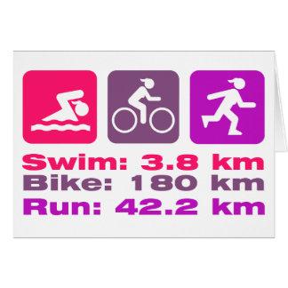 女性のTriathleteの勇気付けられるの水泳のバイクはピンクを走ります カード
