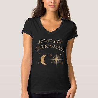女性のvの首の透明な夢を見るワイシャツ tシャツ