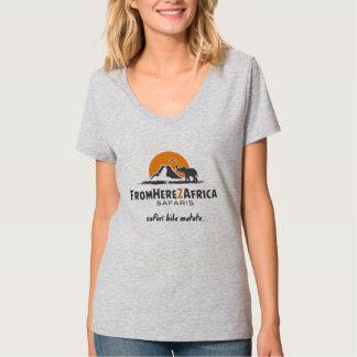 女性のv首のTシャツ Tシャツ