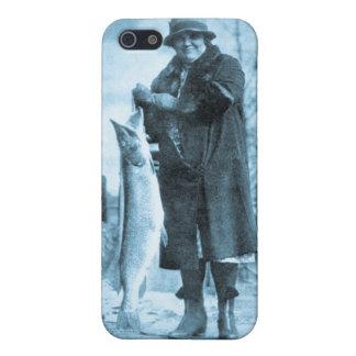 女性は大きい物に(青緑色の)ヴィンテージのマスの魚を得ます iPhone 5 CASE