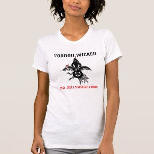 女性は悪賢いロゴのレーサーの背部タンクにヴードゥー教の呪いをかけます Tシャツ