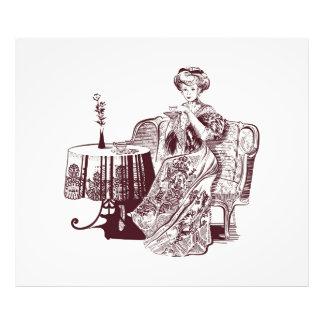 女性は茶を飲みます フォトプリント