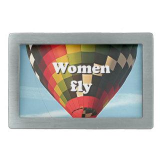 女性は飛びます: 熱気の気球 長方形ベルトバックル