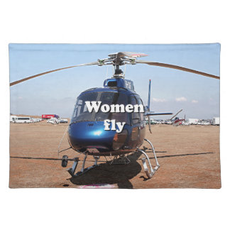 女性は飛びます: 青いヘリコプター ランチョンマット