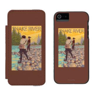 女性は魚釣り-スネーク川、アイダホ--を飛ばします INCIPIO WATSON™ iPhone 5 財布 ケース