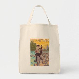 女性は魚釣り-モンタナ--を飛ばします トートバッグ