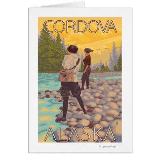 女性は魚釣り- Cordova、アラスカ--を飛ばします カード
