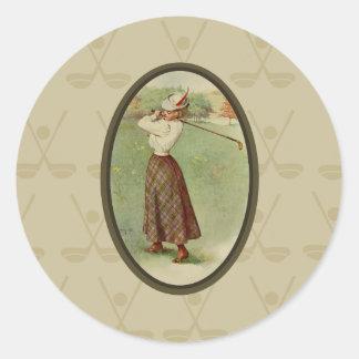 女性をゴルフをするArt (3)ヴィンテージ ラウンドシール