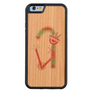女性キャンディ・ケーンの木の私電話6箱 CarvedチェリーiPhone 6バンパーケース