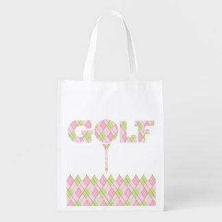 女性ゴルフアーガイル柄のでパターン(の模様が)あるな印刷されたバッグ エコバッグ