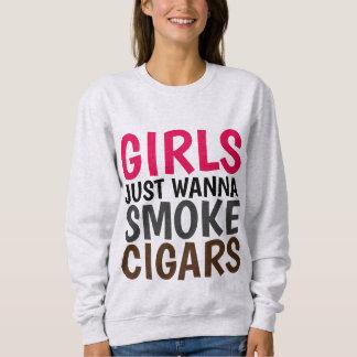 女性シガーの喫煙のTシャツ、女の子はちょうどにほしいです スウェットシャツ