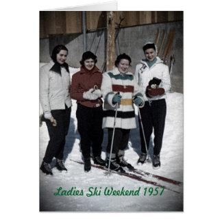 女性スキー週末の1957年の写真カード カード