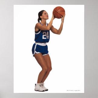 女性プレーヤーの射撃、発砲のバスケットボール ポスター