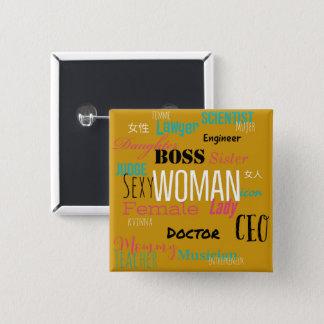 女性ボタン(ぴりっとするマスタード) 缶バッジ
