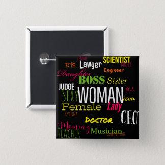 女性ボタン(数々のなネオン) 缶バッジ
