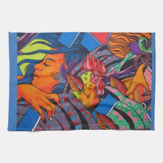 女性及び鶏の壁の壁画 キッチンタオル
