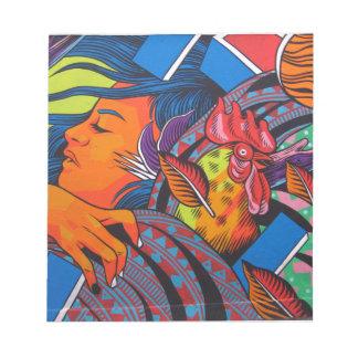 女性及び鶏の壁の壁画 ノートパッド