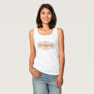 女性基本的な白いタンクロゴの金ゴールド タンクトップ